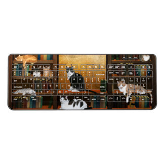 Cats and bookcase wireless keyboard