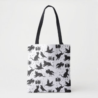 Cats and Crows Black and White Tote