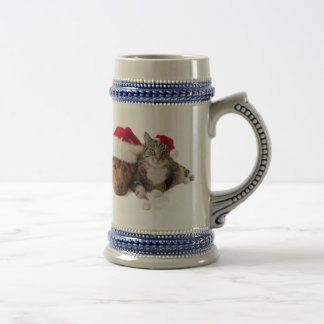 Cats and dogs - Christmas cat - christmas dog Beer Stein