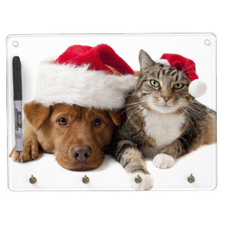 Cats and dogs - Christmas cat - christmas dog Dry Erase Board With Key Ring Holder