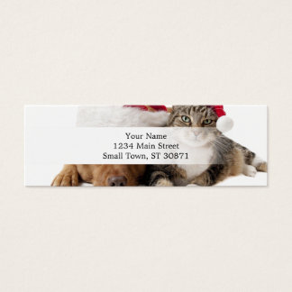 Cats and dogs - Christmas cat - christmas dog Mini Business Card