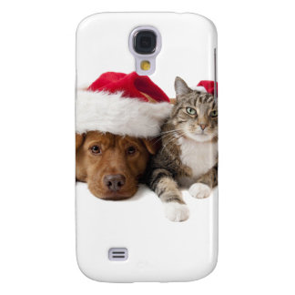 Cats and dogs - Christmas cat - christmas dog Samsung Galaxy S4 Case