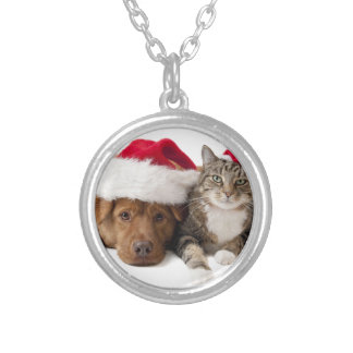 Cats and dogs - Christmas cat - christmas dog Silver Plated Necklace