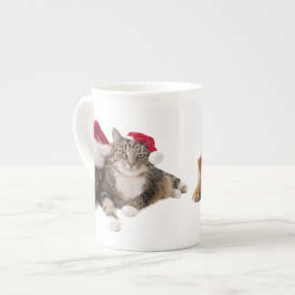 Cats and dogs - Christmas cat - christmas dog Tea Cup