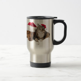 Cats and dogs - Christmas cat - christmas dog Travel Mug