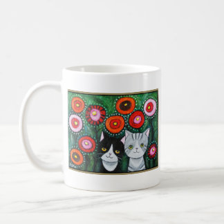 Cats and Flowers Colorful Cats Mug Cat Graphic Art