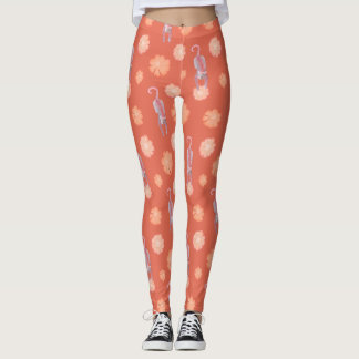 Cats and flowers orange leggings