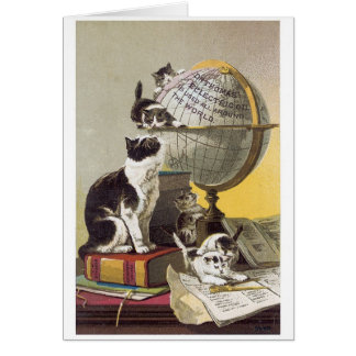 Cats and Globe Greeting Card