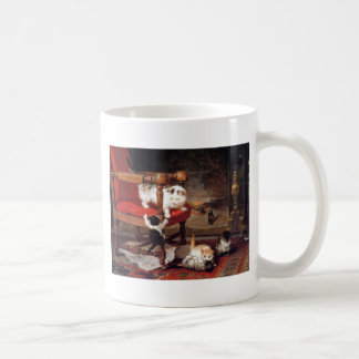 Cats and Kittens by a Fireplace Artwork Coffee Mug