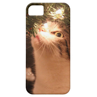 Cats and lights - Christmas cat -christmas tree iPhone 5 Cases