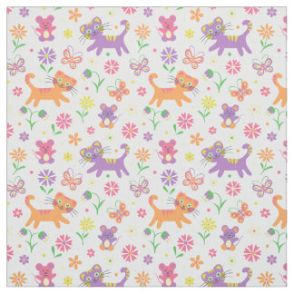 Cats and mice print fabric