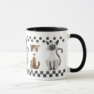 Cats and Paw Prints Mug