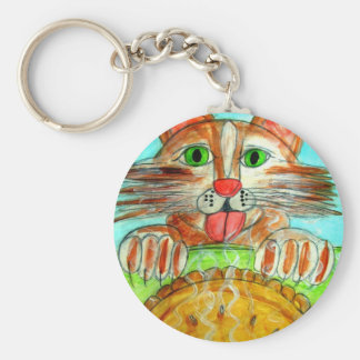 Cats and Pie Basic Round Button Key Ring