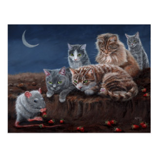 Cats and Rat with strawberries postcard