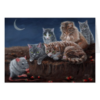 Cats and Rat with strawberry Card