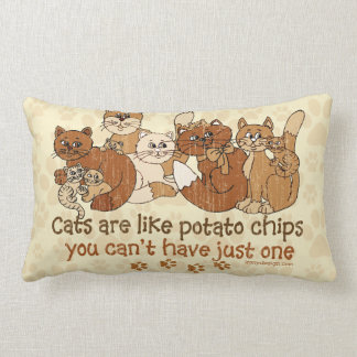 Cats are like potato chips Grunge Version Lumbar Pillow