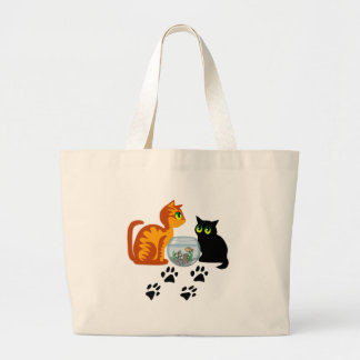 Cats At Play Large Tote Bag