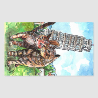 Cats at the Tower of Pisa Rectangular Sticker