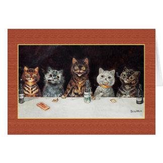 CATS BACHELOR PARTY, Vintage Louis Wain Card
