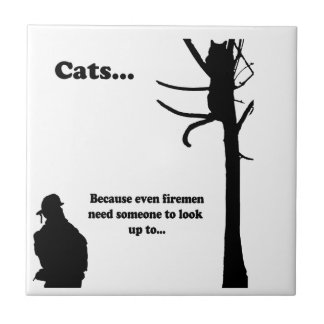 Cats...Because even Firemen Small Square Tile