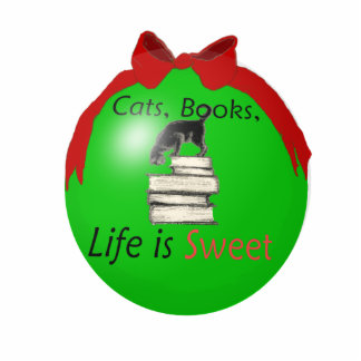 Cats, Books, Life is Sweet Photo Sculpture Decoration