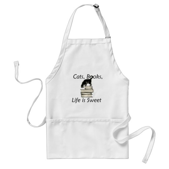 Cats, Books, Life is sweet Standard Apron