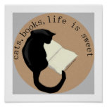 Cats Books Life is Sweet v2 Poster