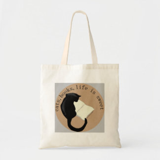 Cats, Books, Life is sweet v2 Tote Bag