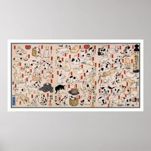 Cats: Cats by Utagawa Kuniyoshi Poster