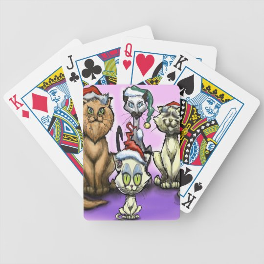 Cats Christmas Hats Bicycle Playing Cards