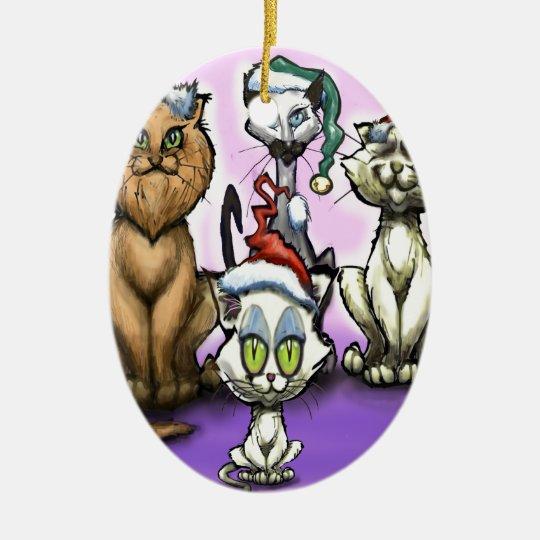 Cats Christmas Hats Ceramic Ornament