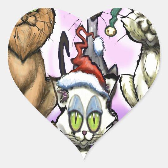 Cats Christmas Hats Heart Sticker