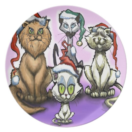 Cats Christmas Hats Plate