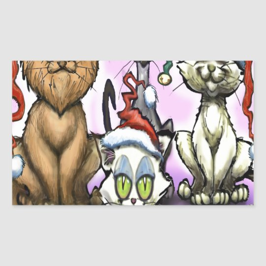 Cats Christmas Hats Rectangular Sticker