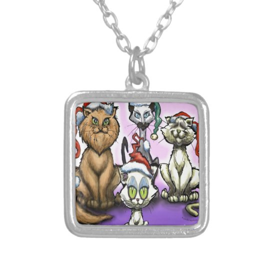 Cats Christmas Hats Silver Plated Necklace