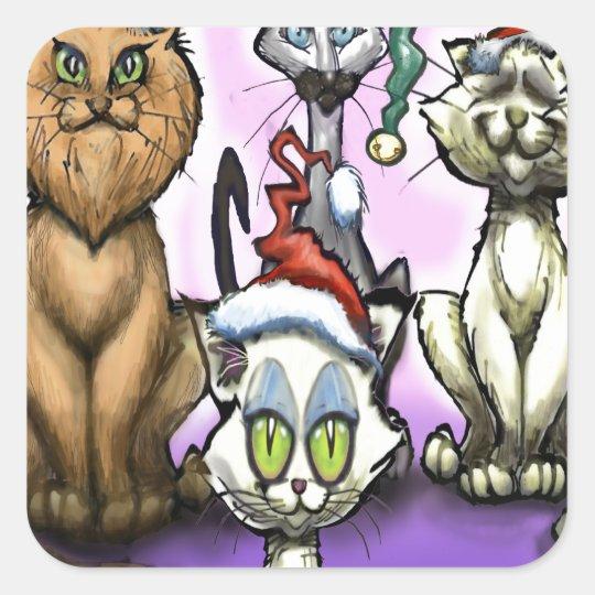 Cats Christmas Hats Square Sticker