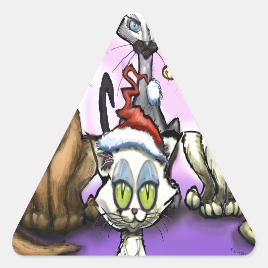 Cats Christmas Hats Triangle Sticker
