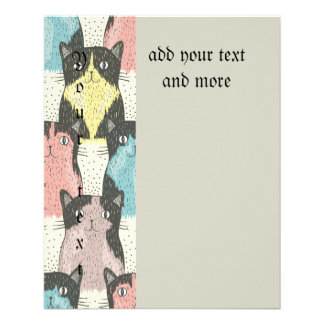 "Cats,cute,fun,pattern,trendy,girly,cat,modern,kids 4.5"" X 5.6"" Flyer"