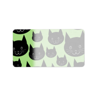 Cats Design in Black and Green. Address Label