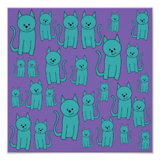 Cats Design in Funky Colors. Poster