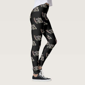 Cats Dimensional Picture Logo, Black Leggings