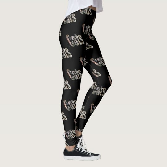 Cats Dimensional Picture Logo, Black Leggings