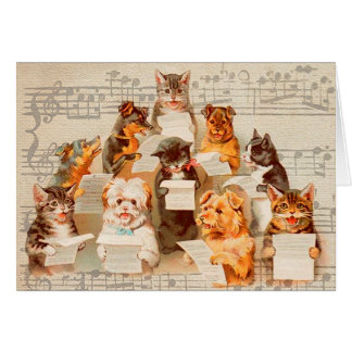 Cats & Dogs Singing, Vintage Arthur Thiele Card