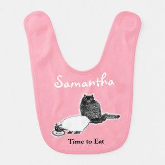 Cats Eating Baby Bib, Customizable Bib