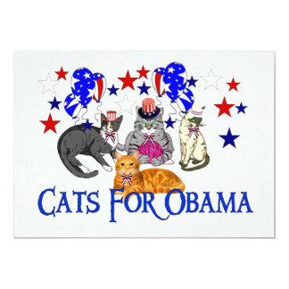 CATS FOR OBAMA 13 CM X 18 CM INVITATION CARD