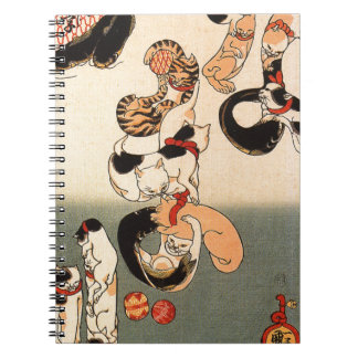 Cats forming the caracters for catfish by Utagawa Notebook