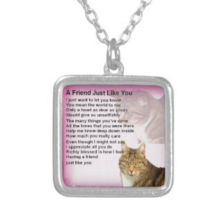 Cats   Friend Poem Silver Plated Necklace