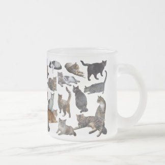 Cats Frosted Glass Coffee Mug