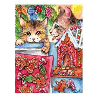 Cats & Gingerbread Cookies Postcard