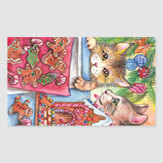 Cats & Gingerbread Cookies Rectangular Sticker